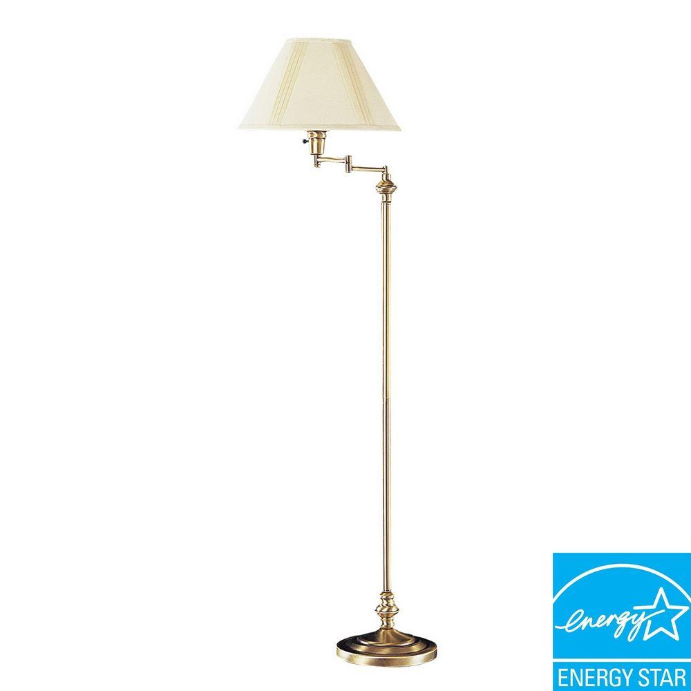 59 in. Antique Brass Swing Arm Metal Floor Lamp