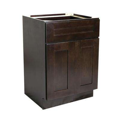 Ready to Assemble 33x24x34-1/2 in. Brookings Shaker Style 2-Door 1-Drawer Base Cabinet in Espresso