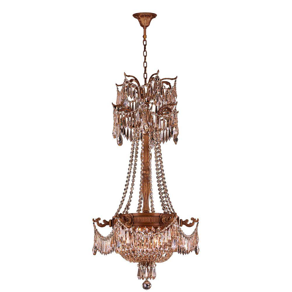 Worldwide Lighting Winchester Collection 3-Light French Gold and Golden Teak Crystal