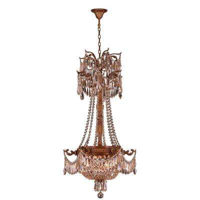 Winchester Collection 3-Light French Gold and Golden Teak Crystal