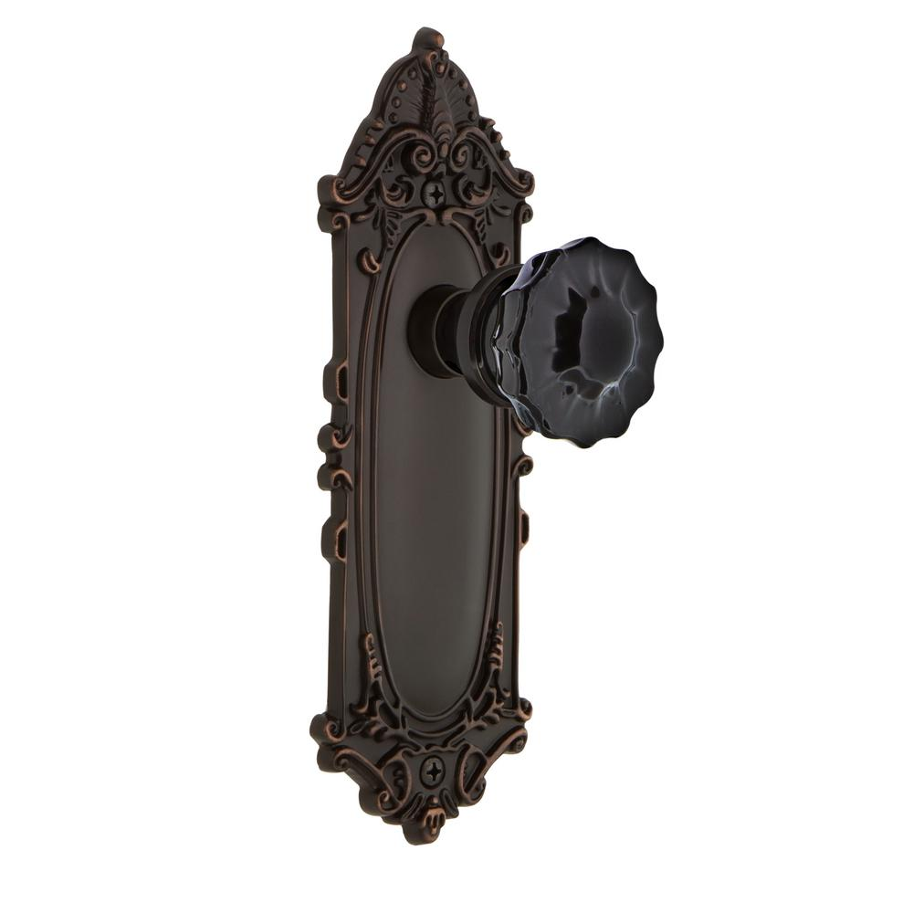 Nostalgic Warehouse 727115 Victorian Plate Double Dummy Crystal Black Glass Door Knob in Timeless Bronze
