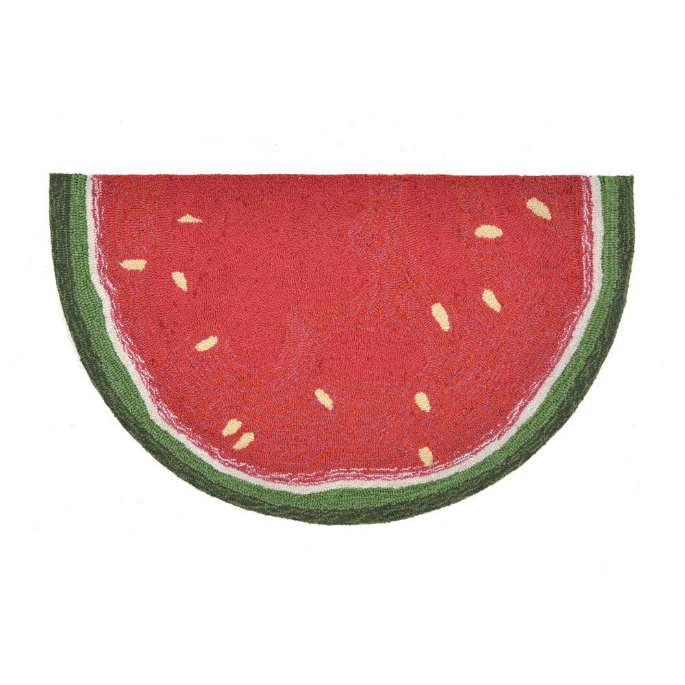 Woodside Summer Fruit Red 2 Ft X 3 Semicircle Indoor Outdoor Area
