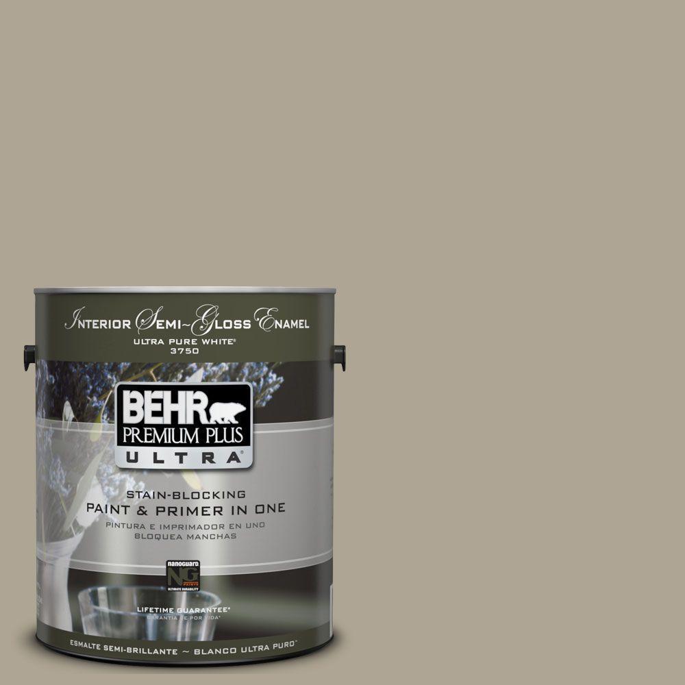 BEHR Premium Plus Ultra 1-gal. #UL190-6 Stone Walls Interior Semi-Gloss Enamel Paint