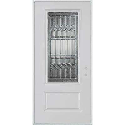 32 in. x 80 in. Lanza Zinc 3/4 Lite 1-Panel Painted White Steel Prehung Front Door