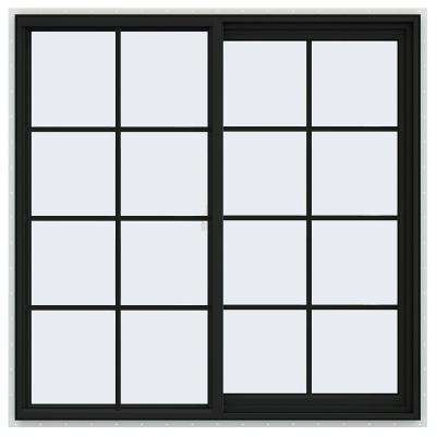 48 in. x 48 in. V-2500 Series Bronze FiniShield Vinyl Right-Handed Sliding Window with Colonial Grids/Grilles