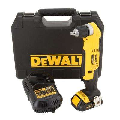 20-Volt MAX Lithium-Ion Cordless Compact Right Angle Drill Kit with Battery 1.5Ah, Charger and Case