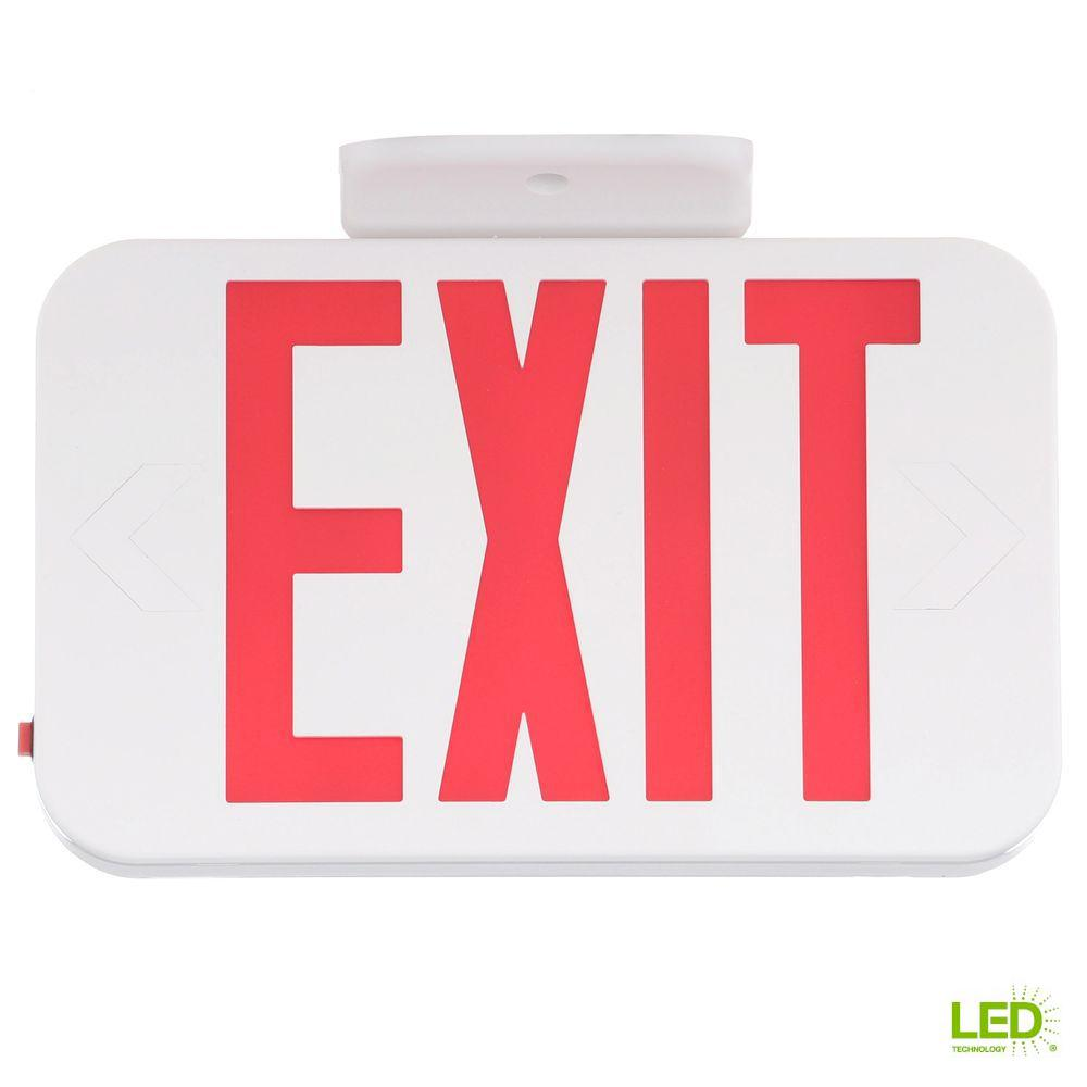 Home Depot Emergency Lights: Progress Lighting Thermoplastic LED Exit Sign With Red