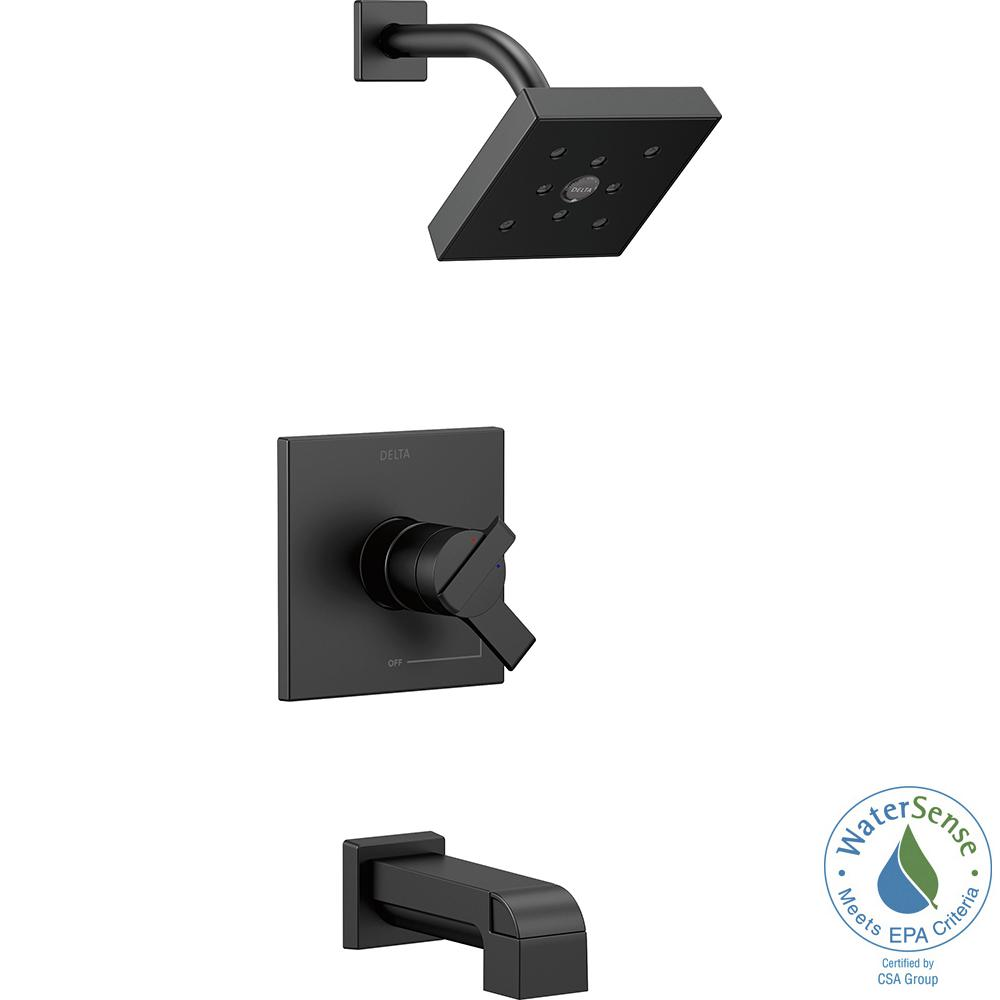 Delta Ara 1-Handle Wall Mount Tub and Shower Trim Kit in Matte Black with H2Okinetic (Valve Not Included)