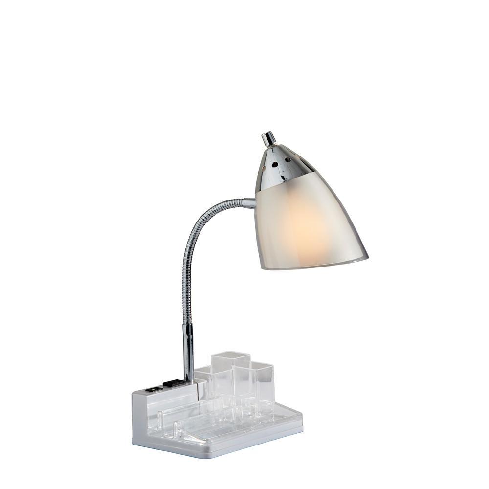 3900-02 14.5 in. White Organizer Desk Lamp