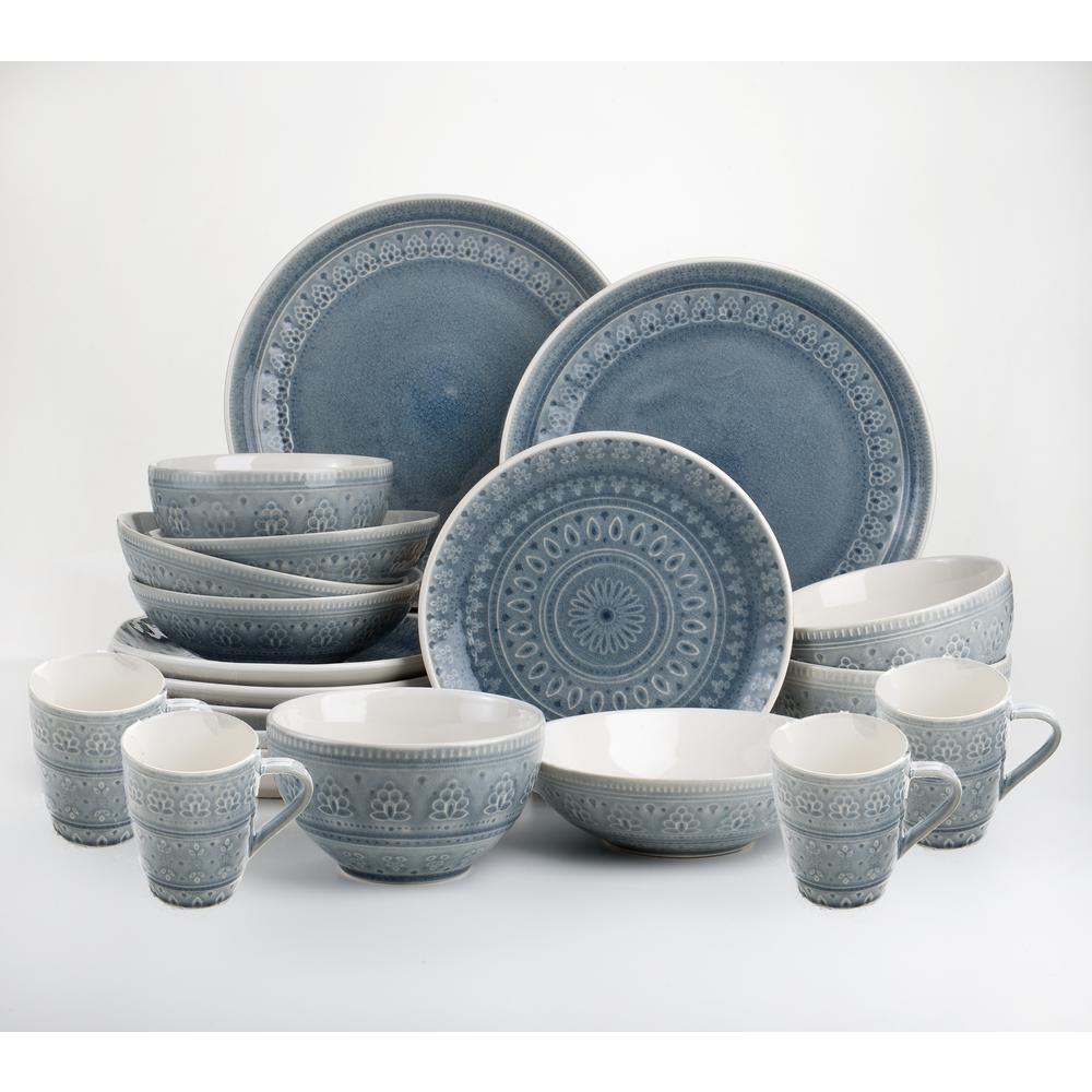 Fez 20-Piece Crackle Glaze Grey Stoneware Dinnerware Set (Service for 4)