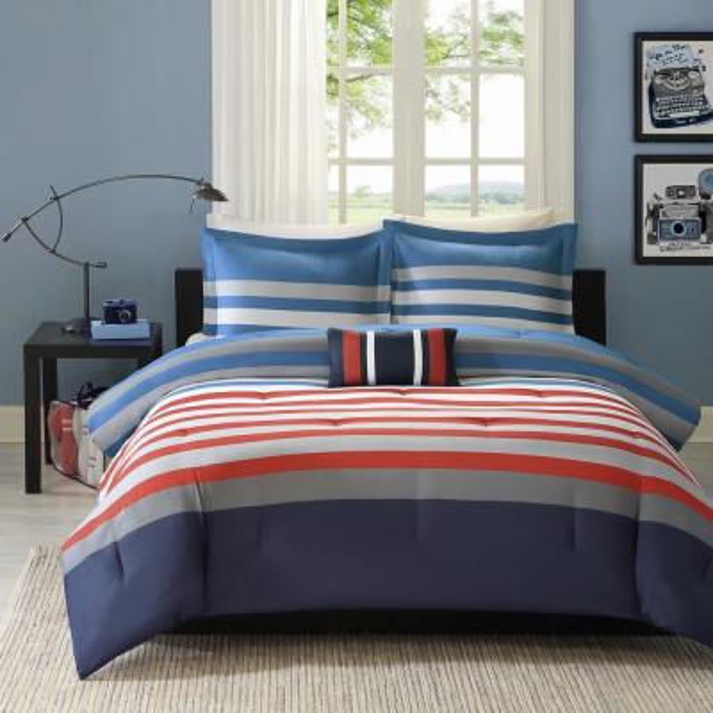 Noah 4-Piece Red/Blue Full/Queen Comforter Set