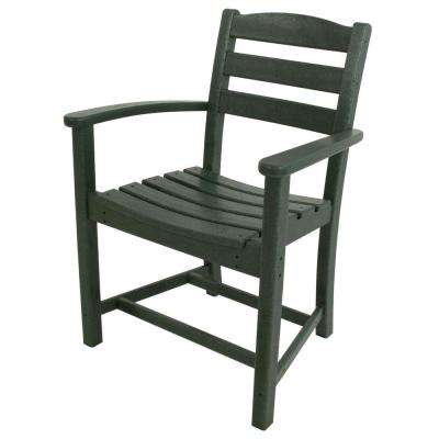 La Casa Cafe Green All Weather Plastic Outdoor Dining Arm Chair