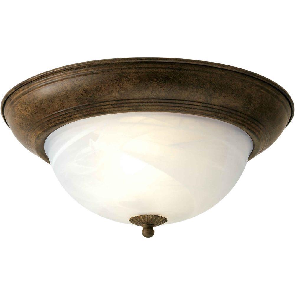 Illumine 3 Light Flush Mount Chestnut Finish Marble Glass-DISCONTINUED