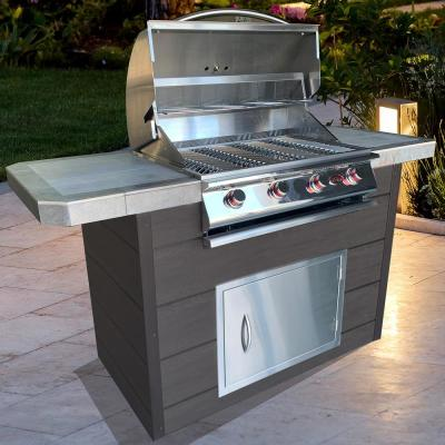 7 ft. Synthetic Wood Panel BBQ Island with 4-Burner Grill in Stainless steel