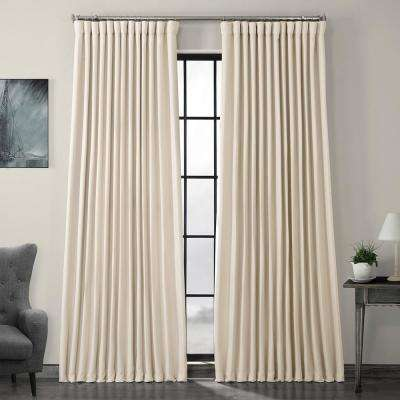 Birch Ivory Faux Linen Extra Wide Blackout Curtain - 100 in. W x 108 in. L