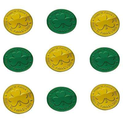 1.5 in. St. Patrick's Day Green and Gold Plastic Coins Table Scatter (100-Count, 2-Pack)