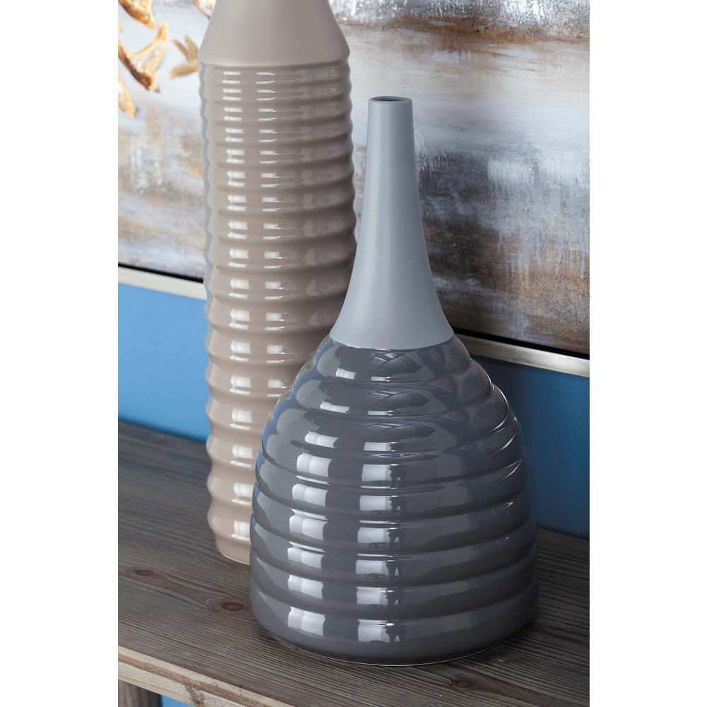 Dark Gray Ceramic Decorative Vase