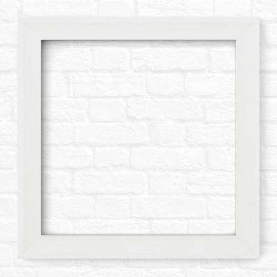 33 in. x 33 in. L2 Square Mirror Frame in Matte White