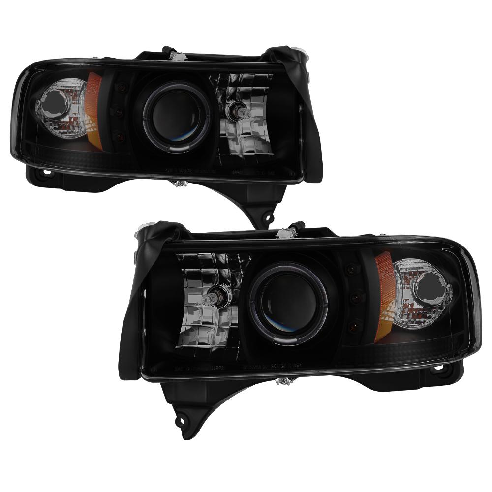 Dodge Ram 1500 94 01 2500 3500 02 99 Sport Projector Headlights Led Halo Black Smoke