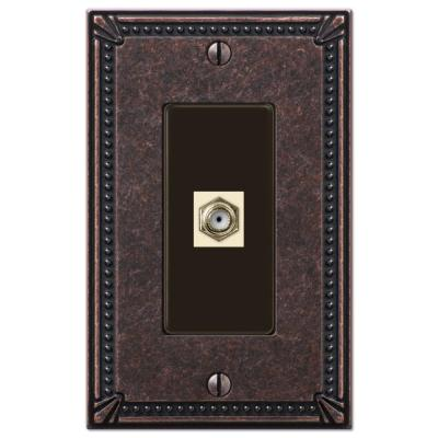 Imperial Bead 1 Gang Coax Metal Wall Plate - Tumbled Aged Bronze