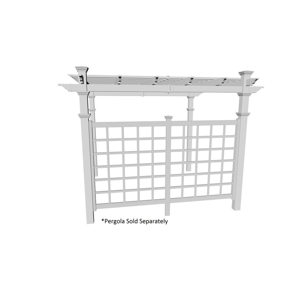 10 ft. White Vinyl Pergola Privacy Trellis