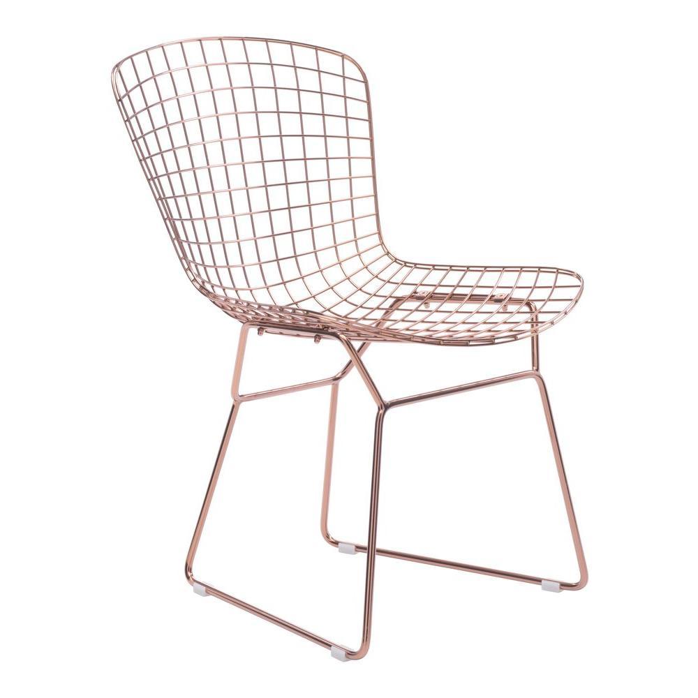 Terrific Rose Gold Steel Wire Dining Chair Set Of 2 Uwap Interior Chair Design Uwaporg