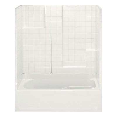 Remodeline Smooth Tile 60 in. x 30 in. x 72 in. 3-Piece Bath and Shower Kit with Right Drain in Bone