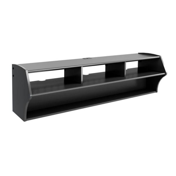 Prepac Altus 58 In Black Composite Floating Entertainment Center Fits Tvs Up To 60 In With Wall Mount Feature Bcaw 0208 1 The Home Depot