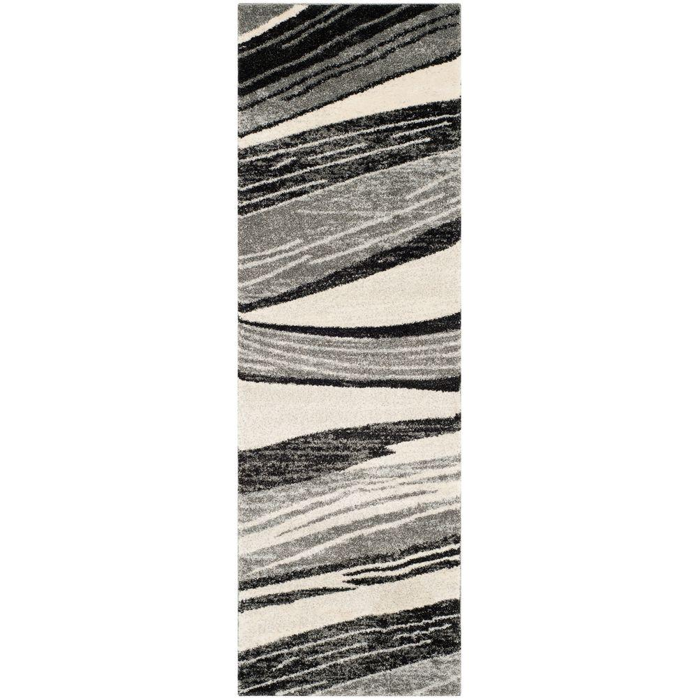 Safavieh Retro Mid Century Modern Abstract Grey Ivory Rug: Safavieh Vintage Light Grey/Ivory 2 Ft. X 10 Ft. Runner