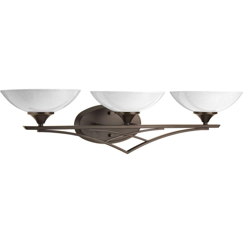 Seeded Glass Vanity Light Shade : Progress Lighting Prosper Collection 3-Light Antique Bronze Vanity Light with Polished Seeded ...