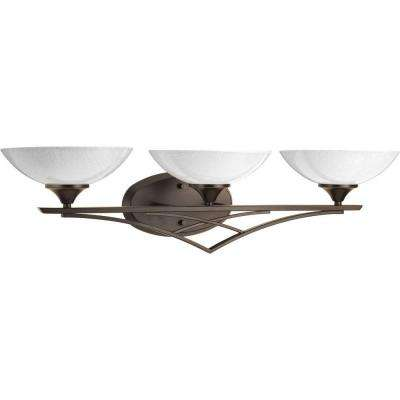 Prosper Collection 3-Light Antique Bronze Bathroom Vanity Light with Glass Shades