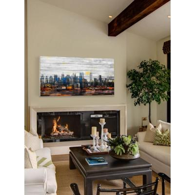 """30 in. H x 60 in. W """"New York Colors"""" by Parvez Taj Printed White Wood Wall Art"""