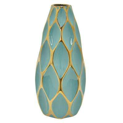 15.5 in. Turquoise and Gold Porcelain Vase