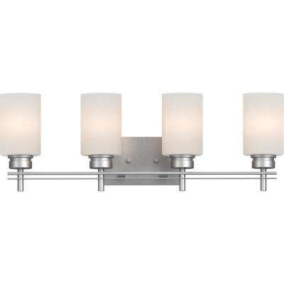 Carena 4-Light Indoor Nickel Bath or Vanity Light Bar or Wall Mount with Etched White Cased Glass Cylinder Shades