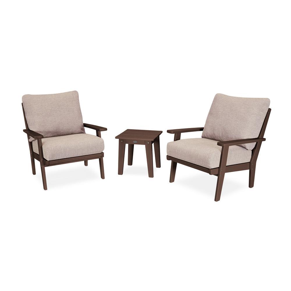 POLYWOOD Grant Park Mahogany 3-Piece Plastic Patio Deep Seating Set with Wheat Cushions