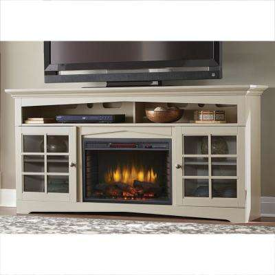 Avondale Grove 70 in. TV Stand Infrared Electric Fireplace in Aged White