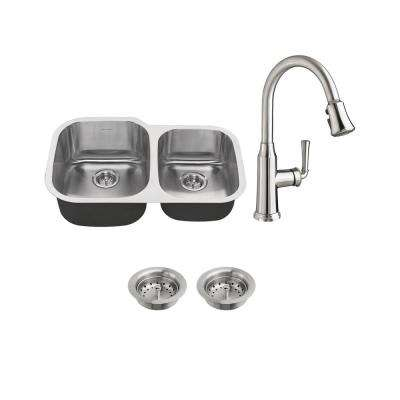 Portsmouth All-in-One Undermount Stainless Steel 31 in. 60/40 Double Bowl Kitchen Sink with faucet in Stainless Steel