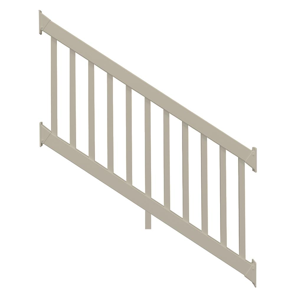 Naples 36 in. x 96 in. Khaki Vinyl Stair Railing Kit