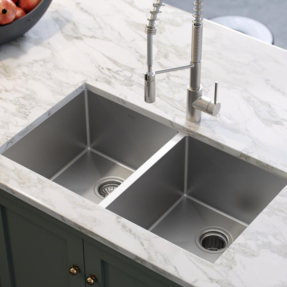 KRAUS Standart PRO 33in. 16 Gauge Undermount 50/50 Double Bowl Stainless  Steel Kitchen Sink