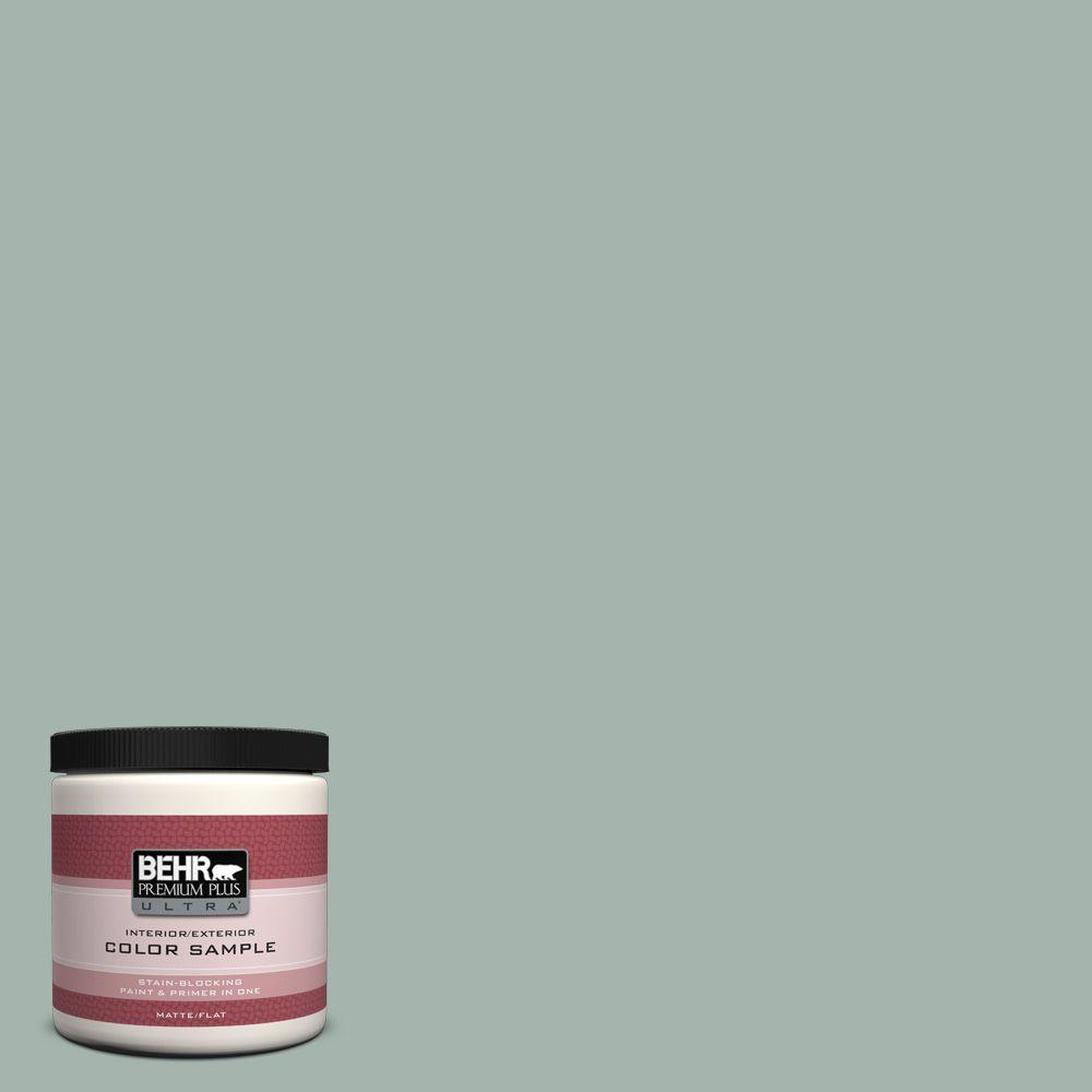 BEHR Premium Plus Ultra 8 oz. #460E-3 Smokey Slate Flat Interior/Exterior Paint and Primer in One Sample