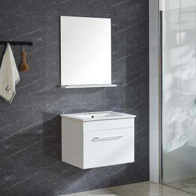 Moderna 21 in. W x 18 in. D x 18.25 in. H Vanity in White with Ceramic Vanity Top in White with Basin and Mirror