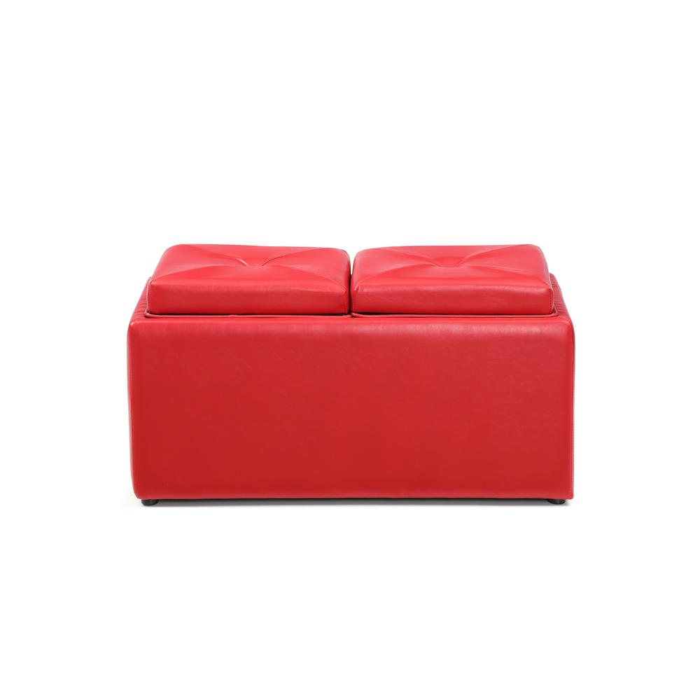 Hodedah Faux Leather, Double Storage Red Ottoman With 2 Flip Over Serving  Trays