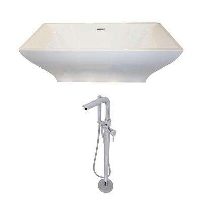 Vision 5.9 ft. Acrylic Double Slipper Freestanding Flatbottom Non-Whirlpool Bathtub in White and Sens Faucet in Chrome