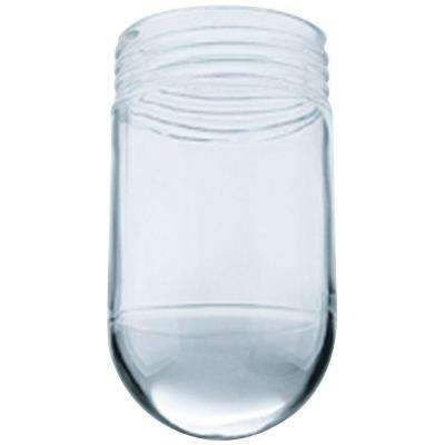 6 in. Vapor Proof Clear Glass Threaded Neck Shade with 3-1/4 in. Thread and 3-1/2 in. Width