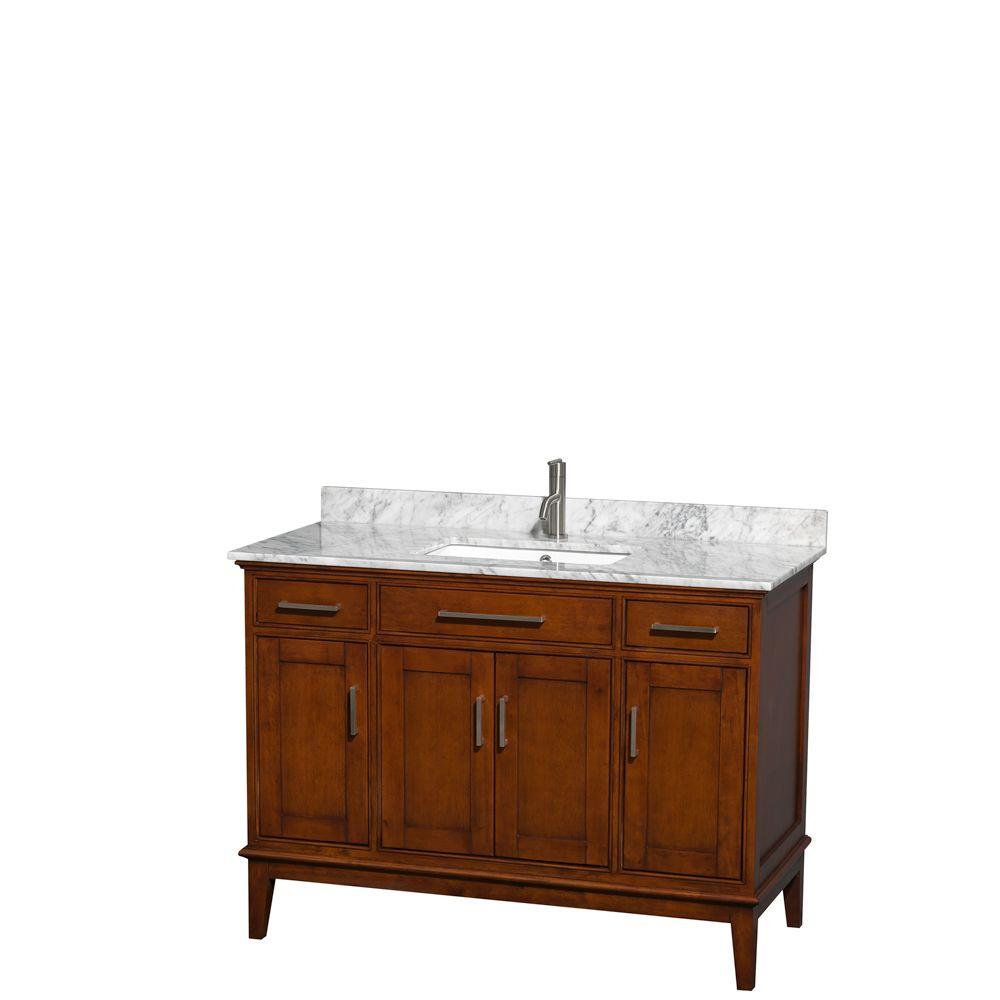 Wyndham Collection Hatton 48 in. Vanity in Light Chestnut with Marble Vanity Top in Carrara White and Square Sink