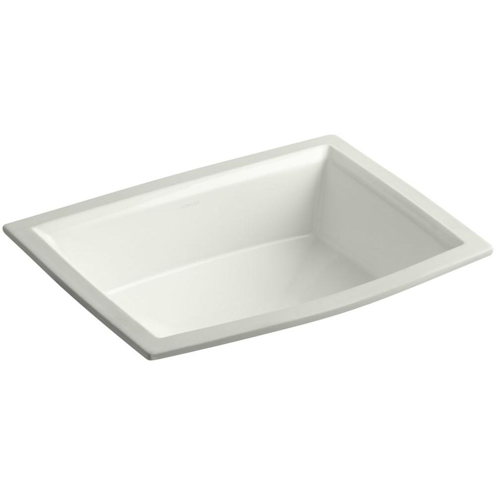Archer Vitreous China Undermount Bathroom Sink with Overflow Drain in Dune