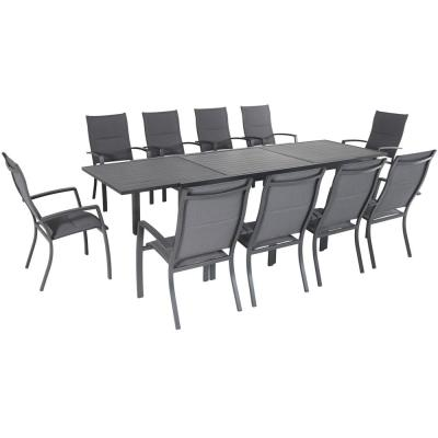 11-Piece Aluminum Outdoor Dining Set with 10-Padded Sling Chairs in Gray and 40 in. x 118 in. Expandable Dining Table