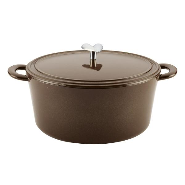 6 Qt. Cast Iron Enamel Covered Dutch Oven in Brown Sugar