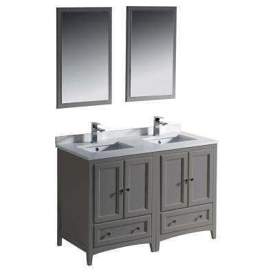 Oxford 48 in. Traditional Double Bath Vanity in Gray with Quartz Stone Vanity Top in White with White Basins and Mirrors