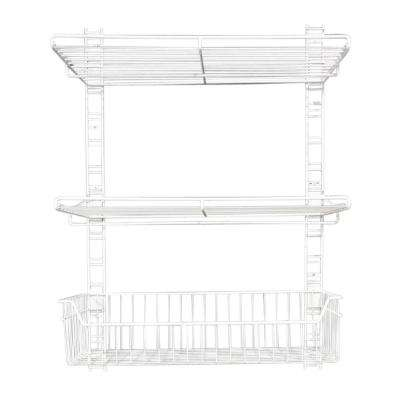 39 in. x 18 in. White Steel Rail Wall Bracket System for Wire Shelving